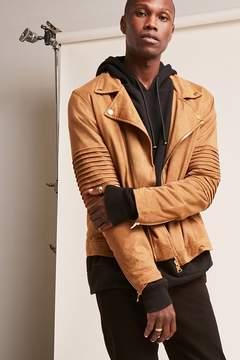 21men 21 MEN Faux Suede Moto Jacket