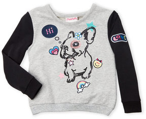 Flapdoodles Girls 4-6x) Patch Bulldog Sweatshirt