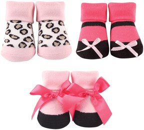 Luvable Friends Pink Leopard Three-Pair Shoe Socks Set - Infant