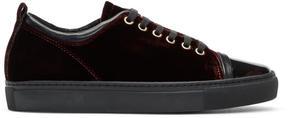Lanvin Burgundy Velvet Sneakers