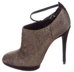 Brian Atwood Metallic Round-Toe Booties