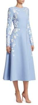 Wedgewood Blue Embroidered Floral Fit-&-Flare Dress