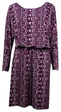 Calvin Klein Women's Belted Snake Jersey Blouson Dress (8, Aubergine Multi)