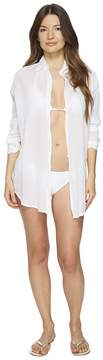 Letarte Button Front Beach Shirt Women's Swimwear