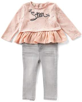 Jessica Simpson Baby Girls 12-24 Months Star-Print Ruffle Top & Jeans Set
