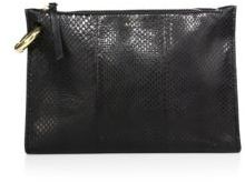 A.L.C. Joni Snakeskin-Embossed Leather Clutch