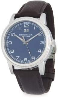 Bruno Magli Textured Stainless Steel Leather-Strap Watch