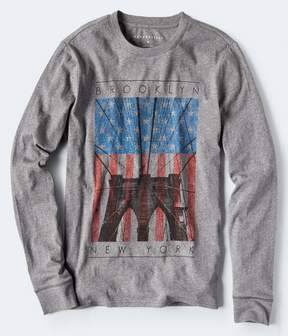 Aeropostale Long Sleeve Brooklyn Bridge Flag Graphic Tee