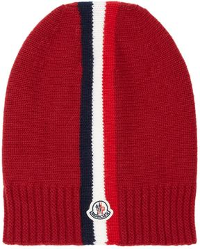 Moncler French Flag Motif Beanie Hat