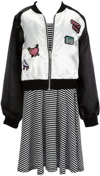Xtraordinary Big Girls 7-16 Two-Piece Patch Bomber Jacket & Striped Dress Set