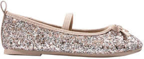 Joe Fresh Toddler Girls' Glitter Bow Ballet Flats, Light Gold (Size 9)