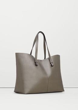 MANGO OUTLET Pebbled effect shopper bag