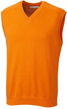 Cutter & Buck Light Orange Broadview V-Neck Sweater Vest - Men
