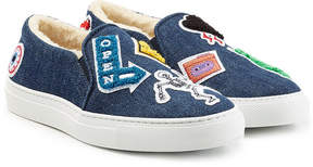 Joshua Sanders Denim Slip On Sneakers with Patches