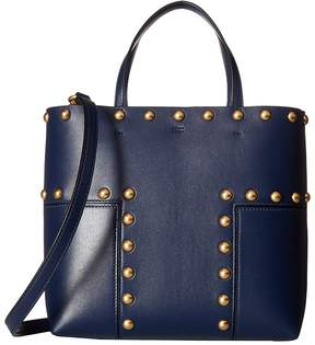 Tory Burch Block-T Stud Mini Tote Tote Handbags - ROYAL NAVY - STYLE