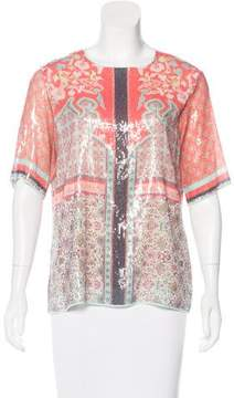 Clover Canyon Embellished Abstract Print Top