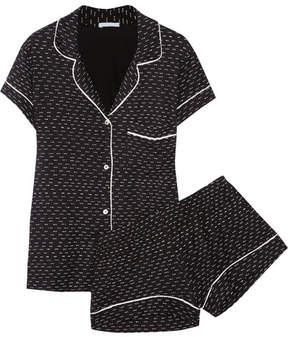 Eberjey Sleep Chic Printed Jersey Pajama Set - Black