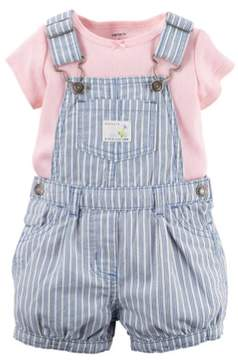 Carter's Baby Clothing Outfit Girls 2-Piece Tee & Denim Shortall Set Pink NB