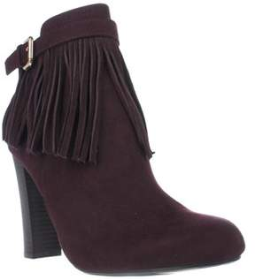 Material Girl Mg35 Persia Fringe Ankle Boots, Wine.