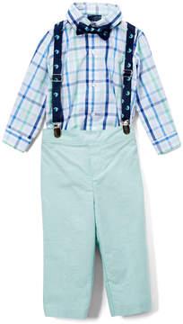 Izod Green Plaid Button-Up Bodysuit Set - Newborn & Infant