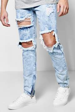 boohoo Skinny Fit Rigid Acid Wash Ripped Jeans