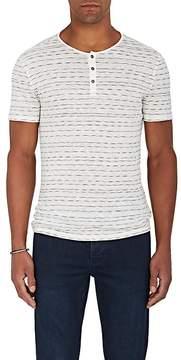 John Varvatos Men's Striped Linen Short-Sleeve Henley