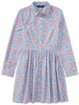 Polo Ralph Lauren Girls' Long-Sleeve Cotton Poplin Floral Dress - Big Kid