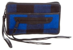 Rebecca Minkoff Plaid-Paneled Leather Clutch - BLACK - STYLE