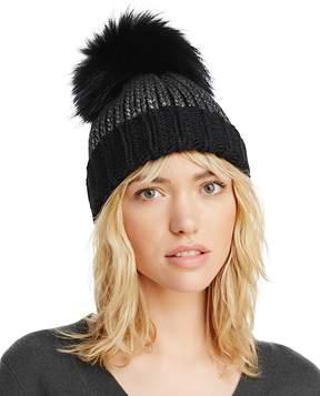 Aqua Metallic Fur Pom Pom Hat - 100% Exclusive
