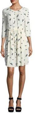 BA&SH Butterfly-Print Crewneck 3/4-Sleeves Dress