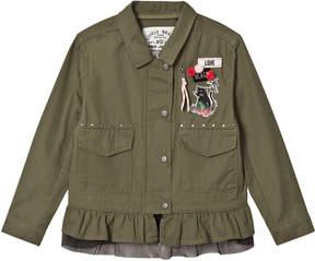 Ikks Khaki Studded Jacket with Detachable Tulle Hem