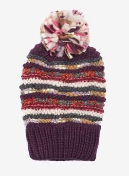 Dorothy Perkins Purple Folk Striped Knit Beanie Hat