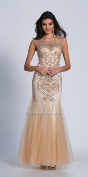 Dave and Johnny Scroll Beaded Tulle Godet Evening Dress
