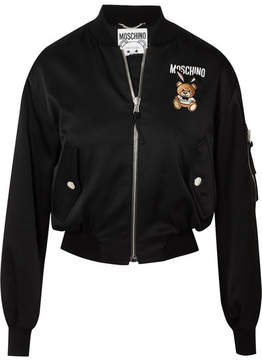 Moschino Embroidered Satin Bomber Jacket - Black