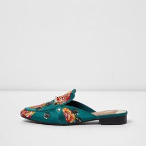 River Island Womens Dark green rose applique backless loafers