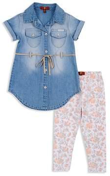 7 For All Mankind Girls' Denim Dress & Floral Leggings Set - Baby