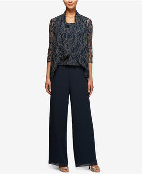 Alex Evenings 3-Pc. Metallic Lace Pantsuit