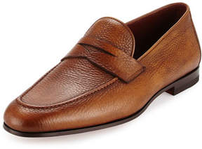Magnanni Pebbled Leather Penny Loafer, Cognac