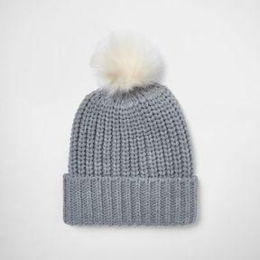 River Island Womens Grey knit bobble hat