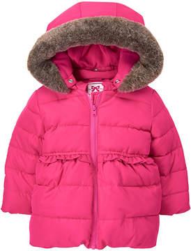 Gymboree Pink Faux Fur-Trim Fleece-Lined Hooded Jacket - Infant & Toddler