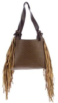 Ungaro Woven Leather Fringe Bag