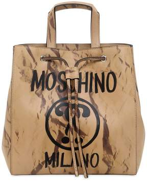Moschino Printed Leather Bucket Shoulder Bag