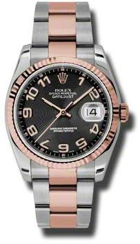 Rolex Oyster Perpetual Datejust 36 Black Concentric Dial Stainless Steel and 18K Everose Gold Bracelet Automatic Men's Watch