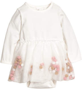 H&M Dress with Pompoms - White