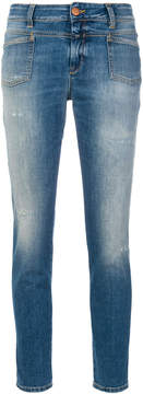 Closed acid wash cropped jeans