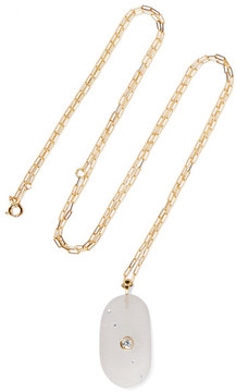 Cvc Stones Moonbeam 18-karat Gold, Stone And Diamond Necklace
