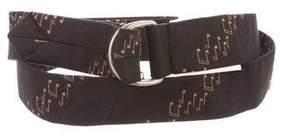 Saint Laurent Silk Musical Note Print Belt w/ Tags