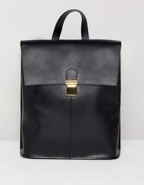 Asos DESIGN leather pushlock backpack