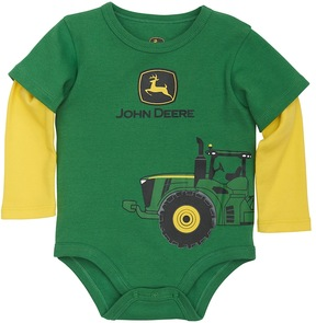 John Deere Baby Boy Logo Tractor Mock-Layer Bodysuit