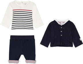 Petit Bateau Navy and White Navy and White T-Shirt, Trousers and Cardigan Set